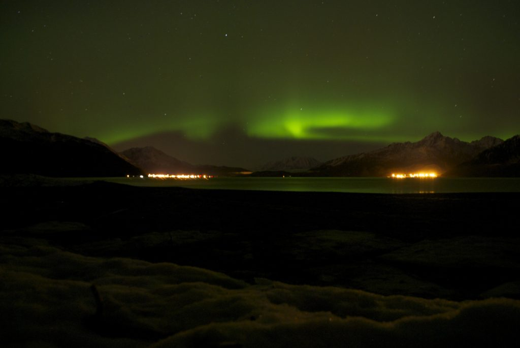 Aurora viewing from the beach at Caine's Head in mid winter.