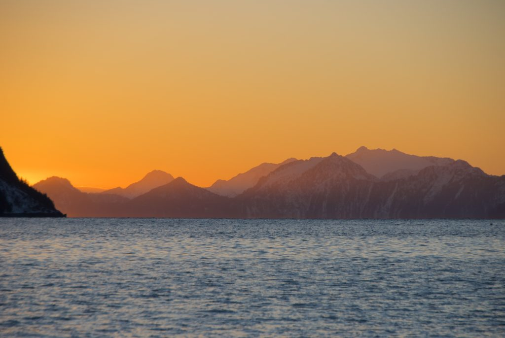 Sunset over Resurrection Bay on a late winter afternoon.