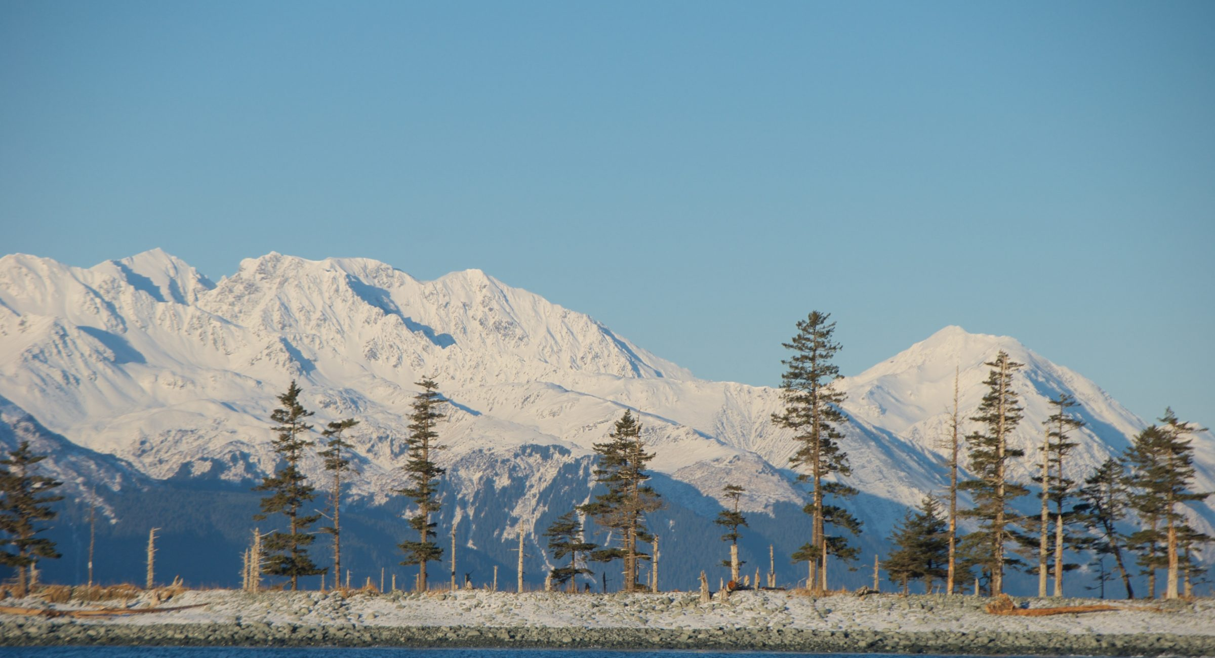 The mountains above Fox Island Spit in winter.